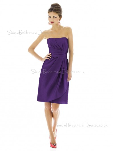 Empire Sleeveless Bateau Purple Short-length Satin Column-Sheath Ruched Backless-Zipper-Back Bridesmaid Dress