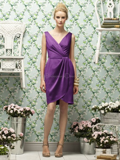 Zipper-Back Purple V-neck Ruched-Ruffles Column-Sheath Natural Satin Sleeveless Short-length Bridesmaid Dress