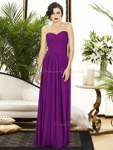 Sleeveless Column-Sheath Purple Ruched-Ruffles Sweetheart-Strapless Backless-Zipper-Back Floor-length Dropped Chiffon Bridesmaid Dress