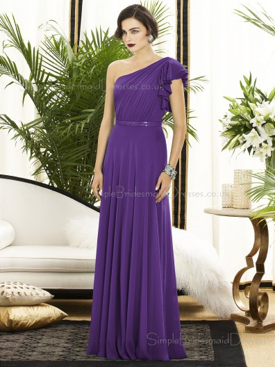 Floor-length A-line Natural Backless Purple Sleeveless Sash-Ruched-Ruffles One-Shoulder Chiffon Bridesmaid Dress