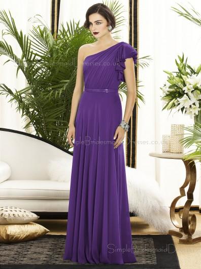 Floor-length A-line Natural Backless Purple Sleeveless Sash-Ruched-Ruffles One-Shoulder Chiffon Bridesmaid Dress