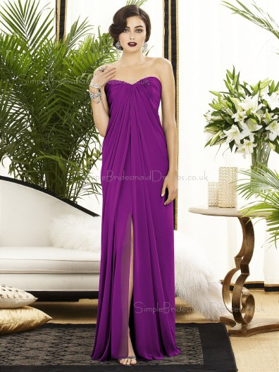 Floor-length A-line Ruched-Ruffles Chiffon Purple Sleeveless Sweetheart-Strapless Empire Backless-Zipper-Back Bridesmaid Dress