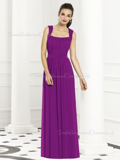 Backless-Zipper-Back Purple Sleeveless Bateau Sash-Ruched-Ruffles Floor-length Dropped Chiffon Column-Sheath Bridesmaid Dress