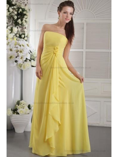 Chiffon Daffodial Beading/Flowers/Side-Draped Natural Sheath Zipper Strapless Sweep Sleeveless Bridesmaid Dress