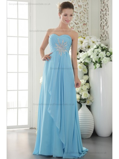 Sheath Sleeveless Chiffon Blue Sweep Natural Beading/Crystal/Ruffles Sweetheart Zipper Bridesmaid Dress