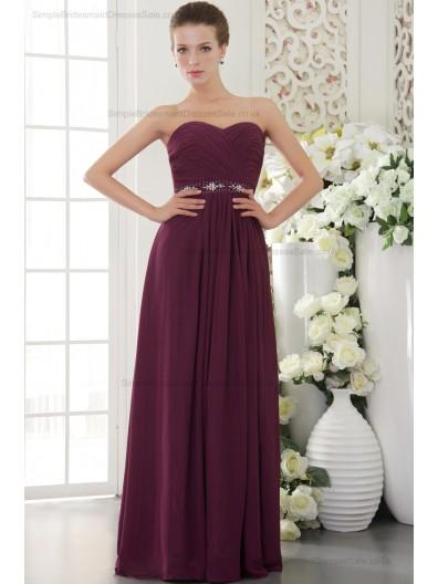 Zipper Burgundy Natural Sweetheart Beading/Crystal/Ruffles/Ribbons/Draped Sheath Sleeveless Chiffon Sweep Bridesmaid Dress