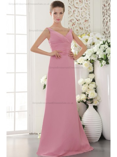 Chiffon Sheath Sleeveless V-neck Natural Zipper Pink Beading/Ruffles Sweep Bridesmaid Dress