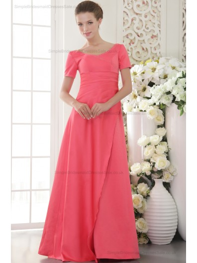 V-neck Satin Zipper Watermelon Short-Sleeve Sweep A-line Natural Beading/Side-Draped Bridesmaid Dress