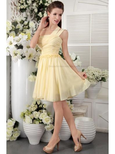 Champagne One-Shoulder Sleeveless Ruffles/Flowers/Draped Chiffon Natural Short-length Zipper Princess Bridesmaid Dress