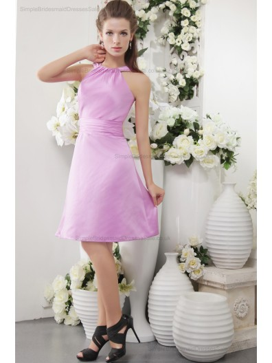 Sleeveless Scoop Sheath Satin Ruffles Zipper Natural Short-length Pink Bridesmaid Dress