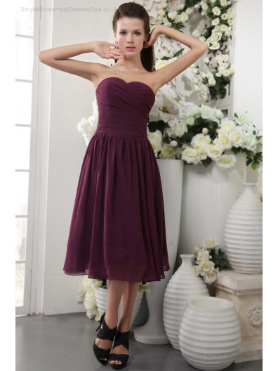 Sheath Ruffles/Draped Burgundy Zipper Natural Short-length Sleeveless Chiffon/Elastic-Silk-like-Satin Sweetheart Bridesmaid Dress