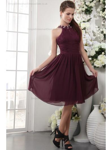Natural Zipper Short-length Beading/Appliques/Ruffles/Draped Burgundy Chiffon/Elastic-Silk-like-Satin Sheath Sleeveless Scoop Bridesmaid Dress