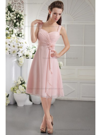 Chiffon/Elastic-Silk-like-Satin Sleeveless Natural Princess Zipper Straps Flowers/Ruffles Pink Short-length Bridesmaid Dress