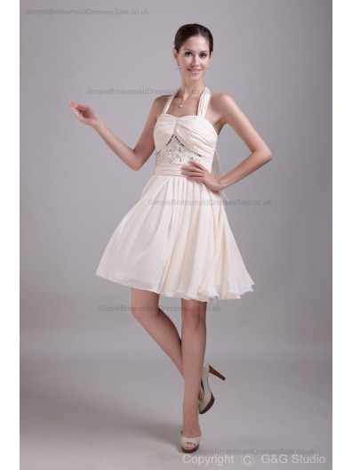 A-line Halter Ruched/Draped/Crystal/Beading/Sequin Zipper Ivory Natural Mini Chiffon/Satin Sleeveless Bridesmaid Dress