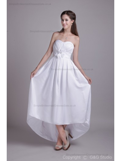 Asymmetrical White Flowers/Ruched Satin A-line Sleeveless Zipper Sweetheart Natural Bridesmaid Dress