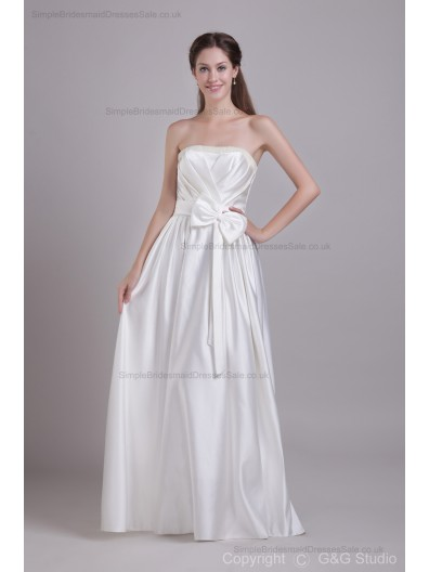 Sleeveless Satin Floor-length A-line Zipper Ivory Ruched/Bow/Beading/Draped Strapless Natural Bridesmaid Dress