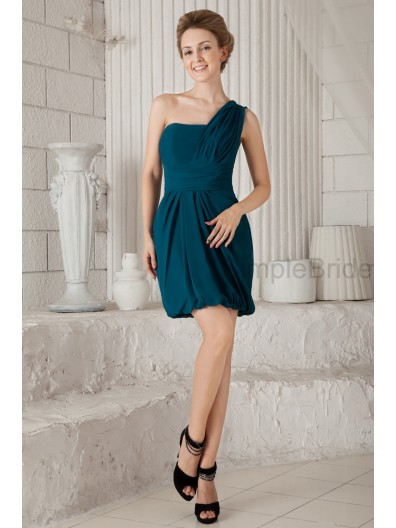 Natural Zipper Ruched Chiffon A-line Roya-Blue Sleeveless Knee-Length One-Shoulder Bridesmaid Dress