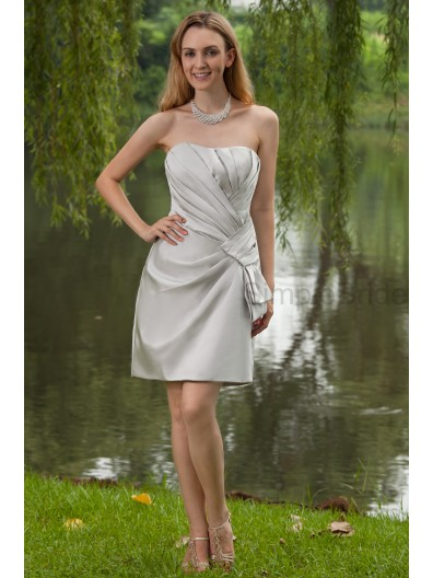 Natural Ruched Knee-Length Sheath Stain Zipper Silver Sweetheart Elastic Silk-like Sleeveless Bridesmaid Dress