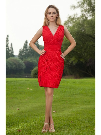 Sleeveless Knee-Length V-neck Natural Red Sheath Ruched Zipper Chiffon Bridesmaid Dress
