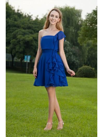 Blue Chiffon Zipper Mini A-line One-Shoulder Short-Sleeve Natural Draped Bridesmaid Dress