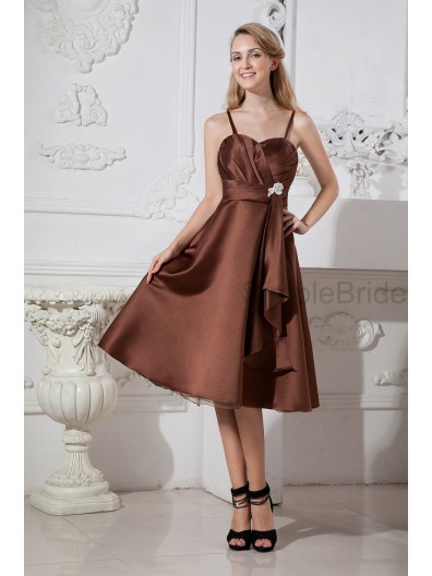Sleeveless Chocolate Ruched Knee-length Natural Spaghetti-Straps/Sweetheart Satin/Organza Zipper A-line Bridesmaid Dress