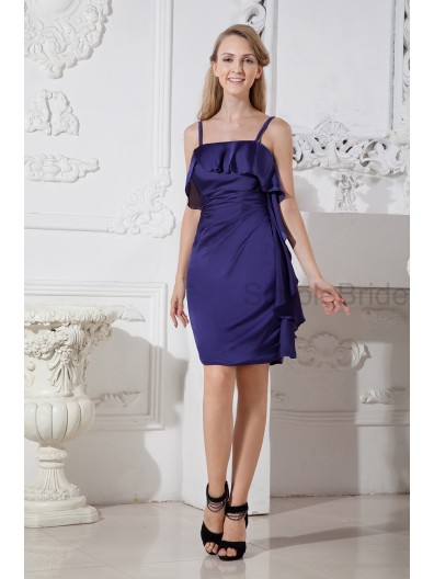 Ruched/Draped Dark Natural Sheath Chiffon Zipper Spaghetti-Straps Knee-length Navy Sleeveless Bridesmaid Dress