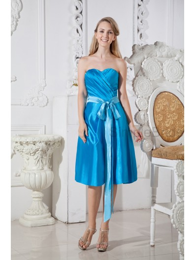 Elastic-Woven-Satin Sleeveless Knee-length A-line Zipper Natural Belt/Ruched Strapless/Sweetheart Blue Bridesmaid Dress
