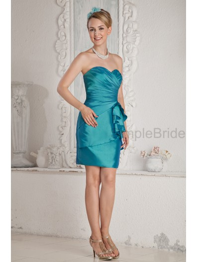 Ruched/Draped Sweetheart Zipper Natural Blue Mini Sleeveless Satin Sheath Bridesmaid Dress