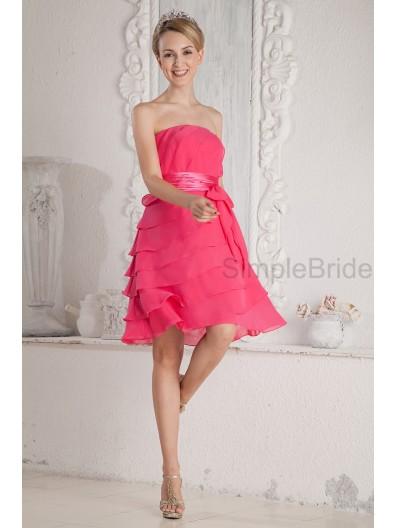 Sleeveless Knee-length A-line Strapless Natural Chiffon/Elastic-Silk-like-Satin Belt/Ruched Zipper Pink Bridesmaid Dress
