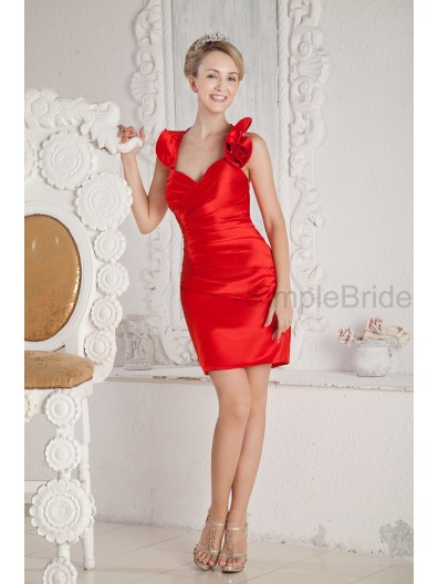 Satin Sheath Zipper Sleeveless Halter Natural Mini Flowers/Ruched Red Bridesmaid Dress