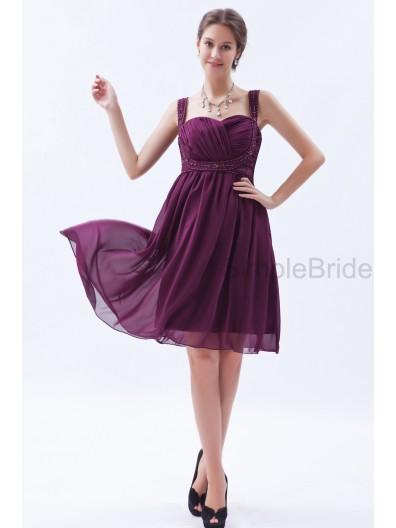 Natural Sleeveless Ruched/Beading A-line Grape Knee-length Chiffon Sweetheart Zipper Bridesmaid Dress