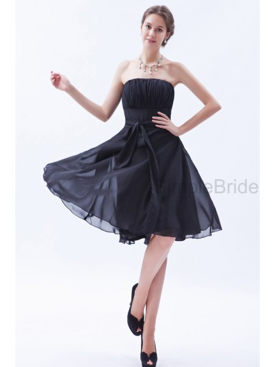 Natural Chiffon Zipper Black Knee-length Ruched/Belt Strapless Sleeveless A-line Bridesmaid Dress