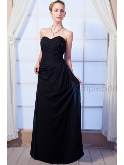 A-line Sleeveless Chiffon Sweetheart Black Natural Ruched Floor-length Zipper Bridesmaid Dress