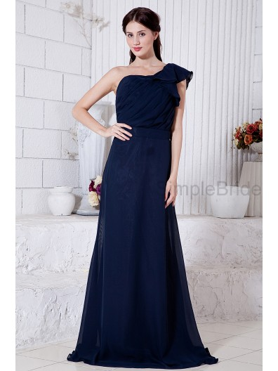 A-line One-Shoulder Natural Floor-length Dark Chiffon Sleeveless Ruched/Ruffles/Belt Zipper Navy Bridesmaid Dress