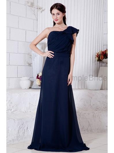 A-line One-Shoulder Natural Floor-length Dark Chiffon Sleeveless Ruched/Ruffles/Belt Zipper Navy Bridesmaid Dress