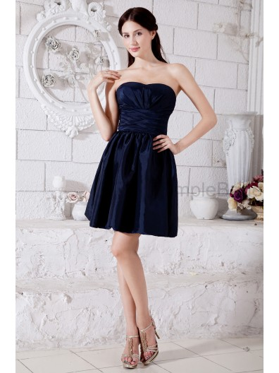 Knee-length Taffeta A-line Zipper Sweetheart Sleeveless Navy Dark Dropped Ruched Bridesmaid Dress