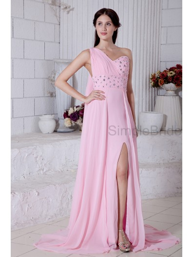 Empire Pink One-Shoulder/Sweetheart Zipper Floor-length Ruched/Beading/Split/Draped/Sequins Empire Chiffon Sleeveless Bridesmaid Dress