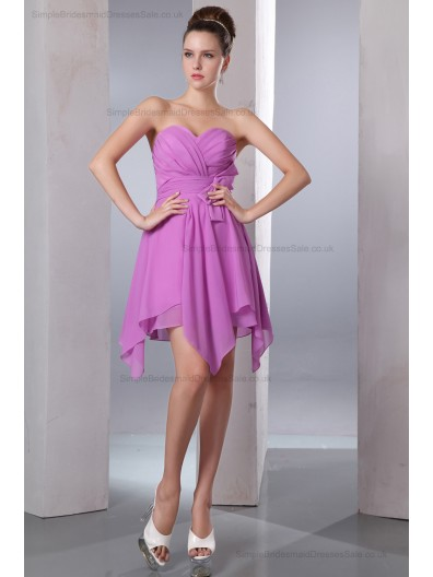 Ruched/Bow A-line Sweetheart Chiffon Sleeveless Knee-length Natural Zipper Lilac Bridesmaid Dress