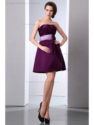 Zipper Mini Sheath Grape Sleeveless Belt/Flowers/Ruched Natural Strapless Satin Bridesmaid Dress
