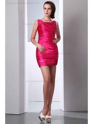 Sheath Zipper Ruched Sleeveless Elastic-Silk-like-Satin Pink Natural straps/Square Mini Bridesmaid Dress