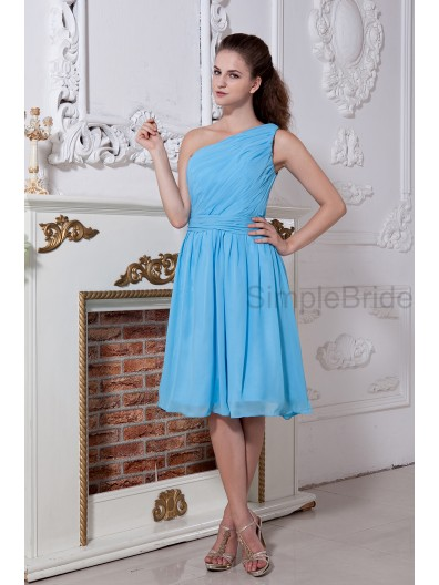 A-line Natural Sleeveless Ruched/Bow Zipper Knee-length Blue Chiffon One-Shoulder Bridesmaid Dress
