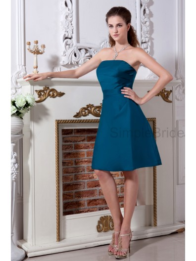 Hunter Sleeveless Strapless Elastic-Woven-Satin Natural Zipper Knee-length Ruched A-line Bridesmaid Dress