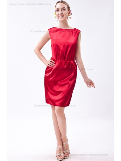 Elastic-Silk-like-Satin Natural Knee-length Sheath Sleeveless Zipper Ruched Red Bateau Bridesmaid Dress