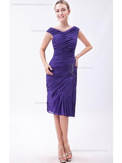 Roya-Blue Ruched/Sequins/Beadin Natural Chiffon Knee-length Sleeveless Sheath Zipper V-neck Bridesmaid Dress