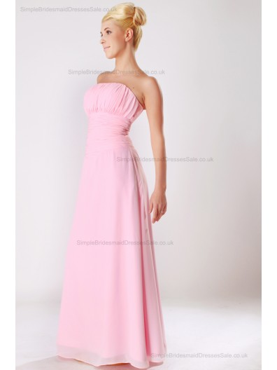 Floor-length Pink Strapless Chiffon Ruched Empire Sleeveless Zipper Empire Bridesmaid Dress