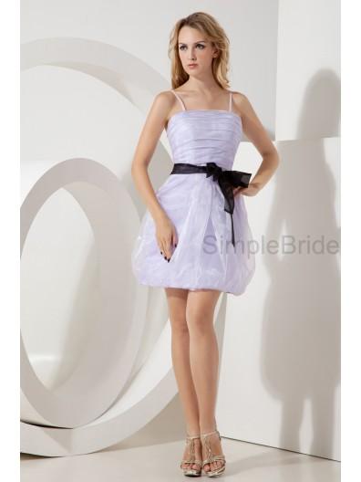 Lavender Spaghetti-Straps Natural Organza Sleeveless Mini Ruched ?Belt/Bow A-line Zipper Bridesmaid Dress