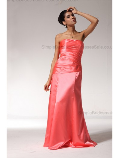 Taffeta Sleeveless A-line Natural Ruched Lace-up Strapless Floor-length Red Bridesmaid Dress