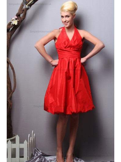 Ruched Sleeveless Zipper Chiffon A-line Red Knee-length Strapless Empire Bridesmaid Dress