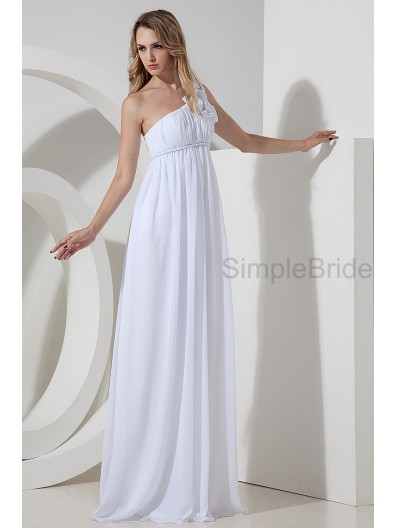 Zipper Empire Floor-length White Chiffon Sleeveless One-Shoulder Empire Ruched/Flowers Bridesmaid Dress