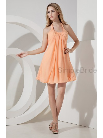 Halter A-line Knee-length Ruched Chiffon Sleeveless Zipper Natural Orange Bridesmaid Dress
